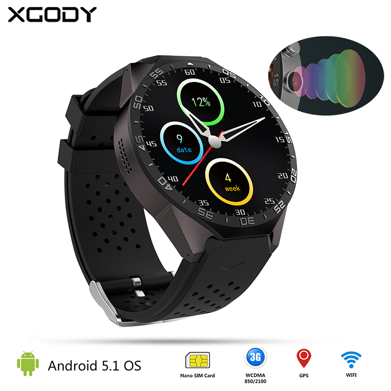 Kingwear KW88 Android 5.1 GPS Smart Watch With SIM Card Heart Rate Monitor Camera Fitness Tracker Clock Wrist Watch Cell Phone