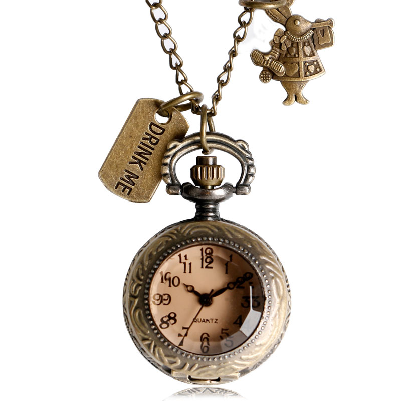 Children's Alice in Wonderland Theme Small Glass Case Pocket Watch With Rabbit Pendant Drink Me Tag Jewelry Best Gift alice in wonderland drink me tag rabbit quartz pocket watch gift set pendant necklace fob chain with gift box for women mens