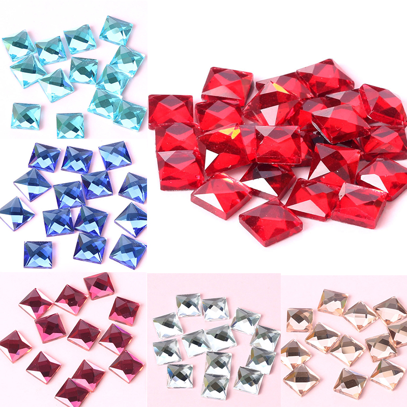 14 Colors Multi Size 6 8 10 12mm Square Flat Back Glass Crystals  Rhinestones Sewing Beads for DIY Crafts Jewelry Accessories-in Beads from  Jewelry ... e4554d3f9c70