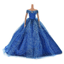 2019 Handmake Wedding Princess Dress Elegant Clothing Gown Skirt Shoes For Barbie Doll Dresses(China)