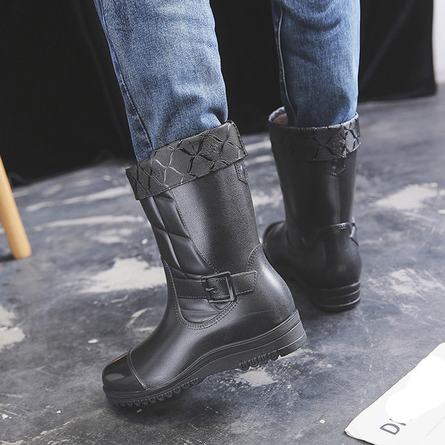 2019 New Arrival Leisure rain boots men Low-Heeled Keep Warm Round Toe Shoe Waterproof Middle Tube Rain Boot Dropshipping#Y35 1