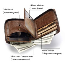 KAVIS 100% Genuine Leather Wallet Men Coin Purse Male Cuzdan Small Walet Portomonee Rfid Mini PORTFOLIO Vallet Perse