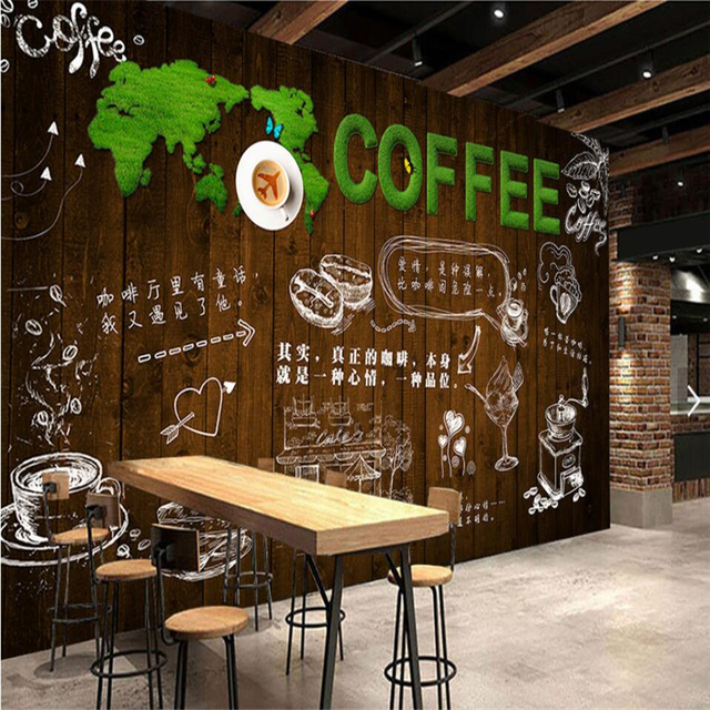 beibehang Wooden green grass letters bar coffee shop ...