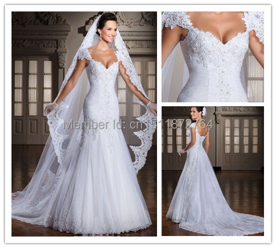 Wedding Dresses With Cap Sleeves And Sweetheart Neckline - Missy Dress