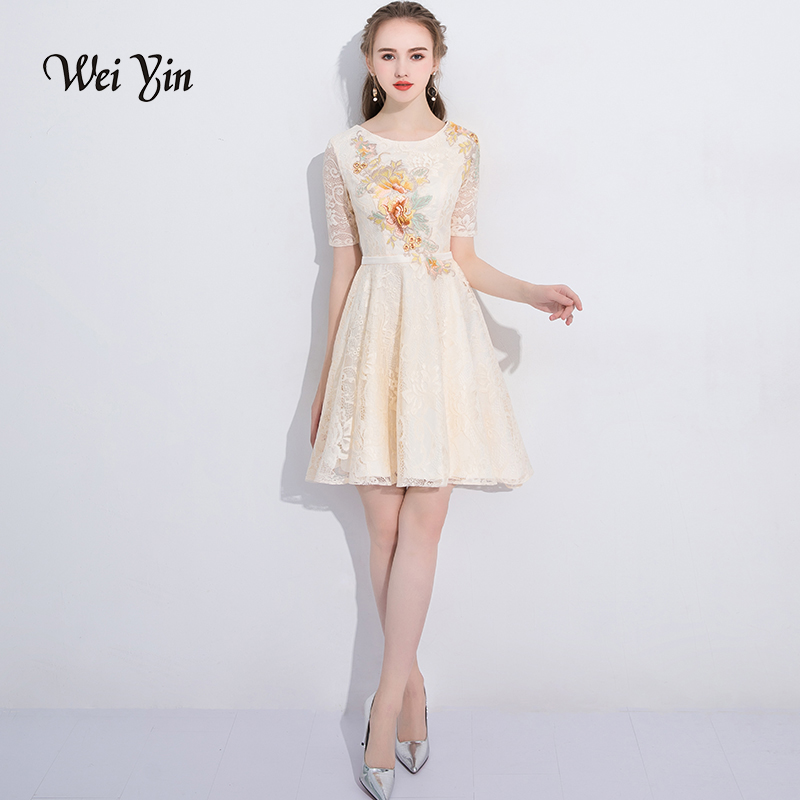 weiyin Cocktail Dresses 2019 New Fashion Women Sexy Backless Half Sleeve Embroidery Homecoming Short Formal Dresses WY818