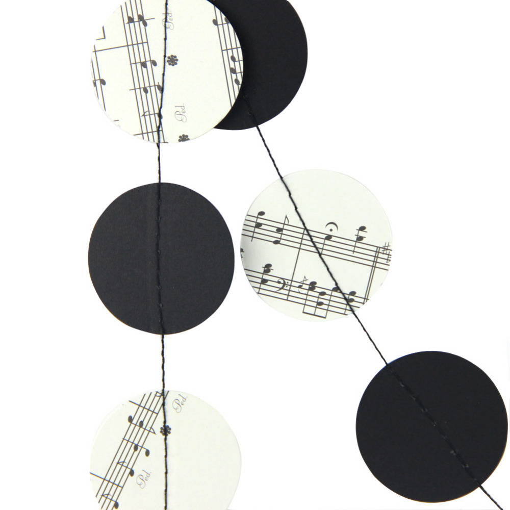2m 6 6ft Sheet Music Garland Music Note Paper Circle Garland Music Themed Banner Music Orchestra Party Wedding Room Home Decor in Party DIY Decorations from Home Garden