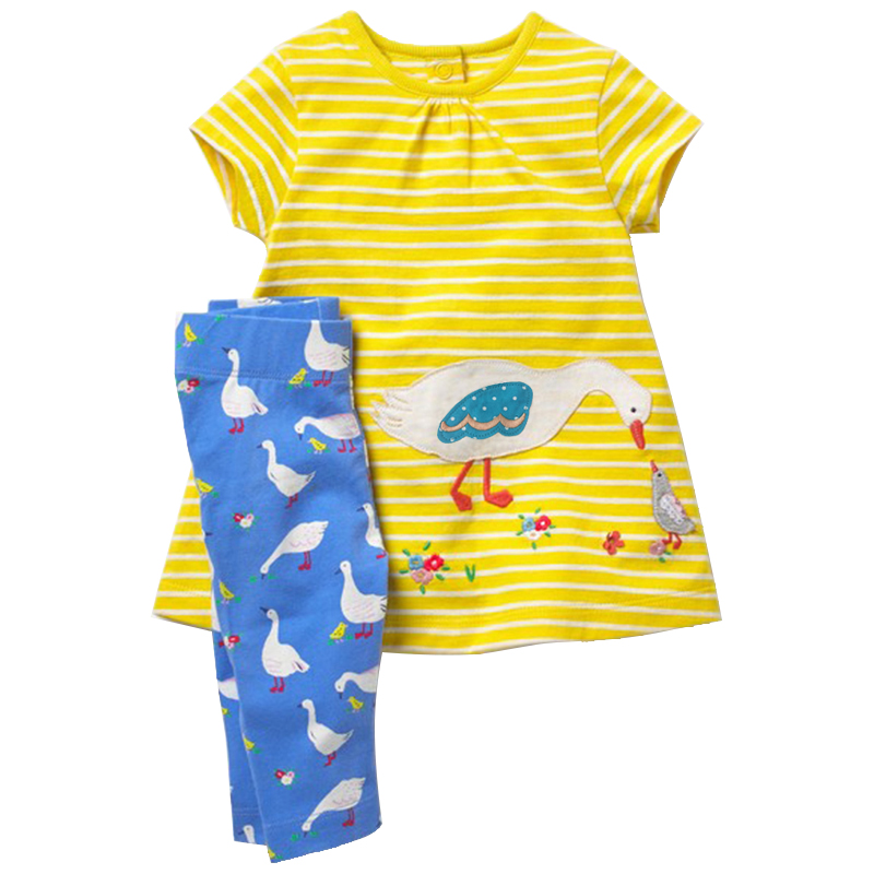 Summer time Toddler Ladies Clothes Set Kids Garments Animal Applique Attire +Pants Child Brief Sleeve Units Youngsters bebe Tracksuit Clothes Units, Low-cost Clothes Units, Summer time Toddler Ladies Clothes...