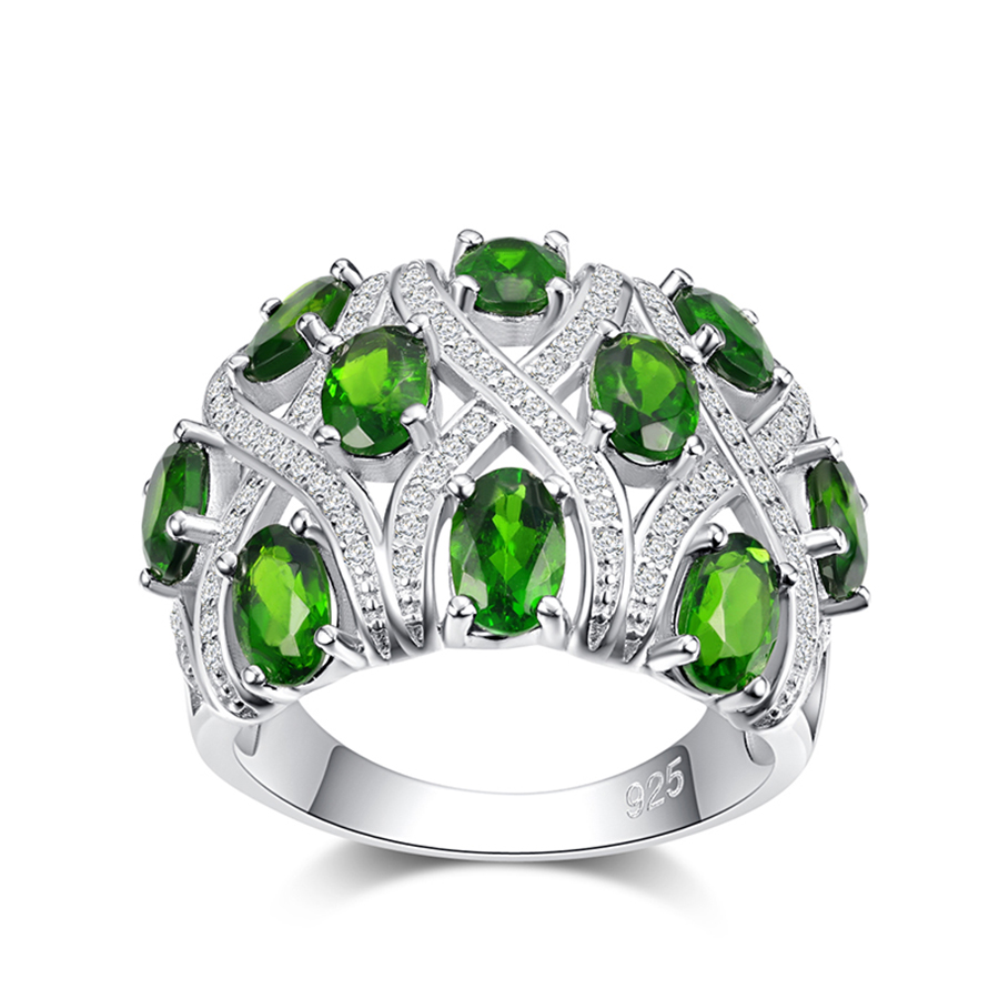 PJC Natural Gemstone 6*4mm 5.20cts Oval Shape Chrome Diopside With 1.1mm 1.00cts White Zircon 925 Sterling Silver Ring