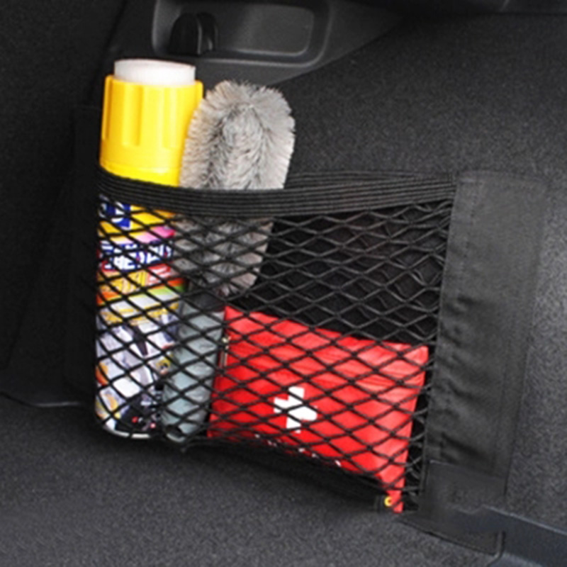 Black Car Storage Mesh Auto Trunk Nylon Rope Net Sticker For Mercedes Audi Honda Toyota Chevrolet Lada Accessories Car Styling car rear trunk security shield cargo cover for volkswagen vw tiguan 2016 2017 2018 high qualit black beige auto accessories