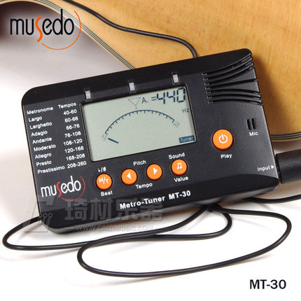 Musedo MT-30 Metro-Tuner 3-en-1 Tuner, métronome, Générateur de tonalité pour Guitare, basse, ukulélé, violon