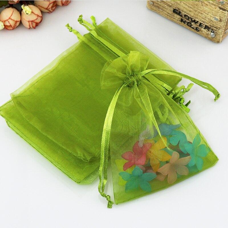 Φ_ΦHotsale 500pcs/lot Olive Green Organza Bags 5x7cm Mini Christmas ...