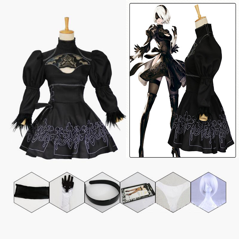 Nier Automata Yorha <font><b>2B</b></font> <font><b>sexy</b></font> Outfit Games Suit Nier Automata Halloween Cosplay Costume Women Role Play Costumes Girls Party Dress image
