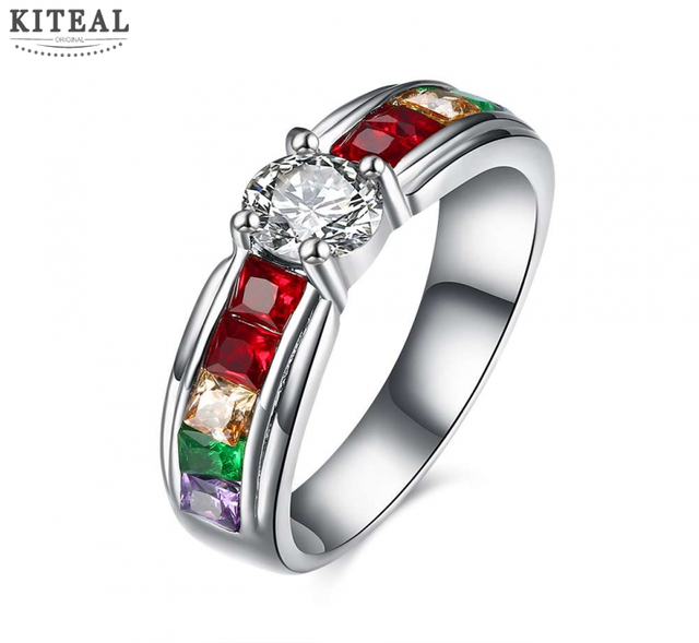 size 6 7 8 9 rainbow beautiful engagement rings for lover titanium steel elegant jewelry high - Rainbow Wedding Rings