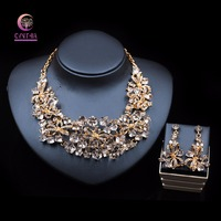 Wholesale Bridal Wedding Jewelry Sets Pink Cubic Crystal Australian Stone Women Necklace Earrings Set Elegant Jewelry