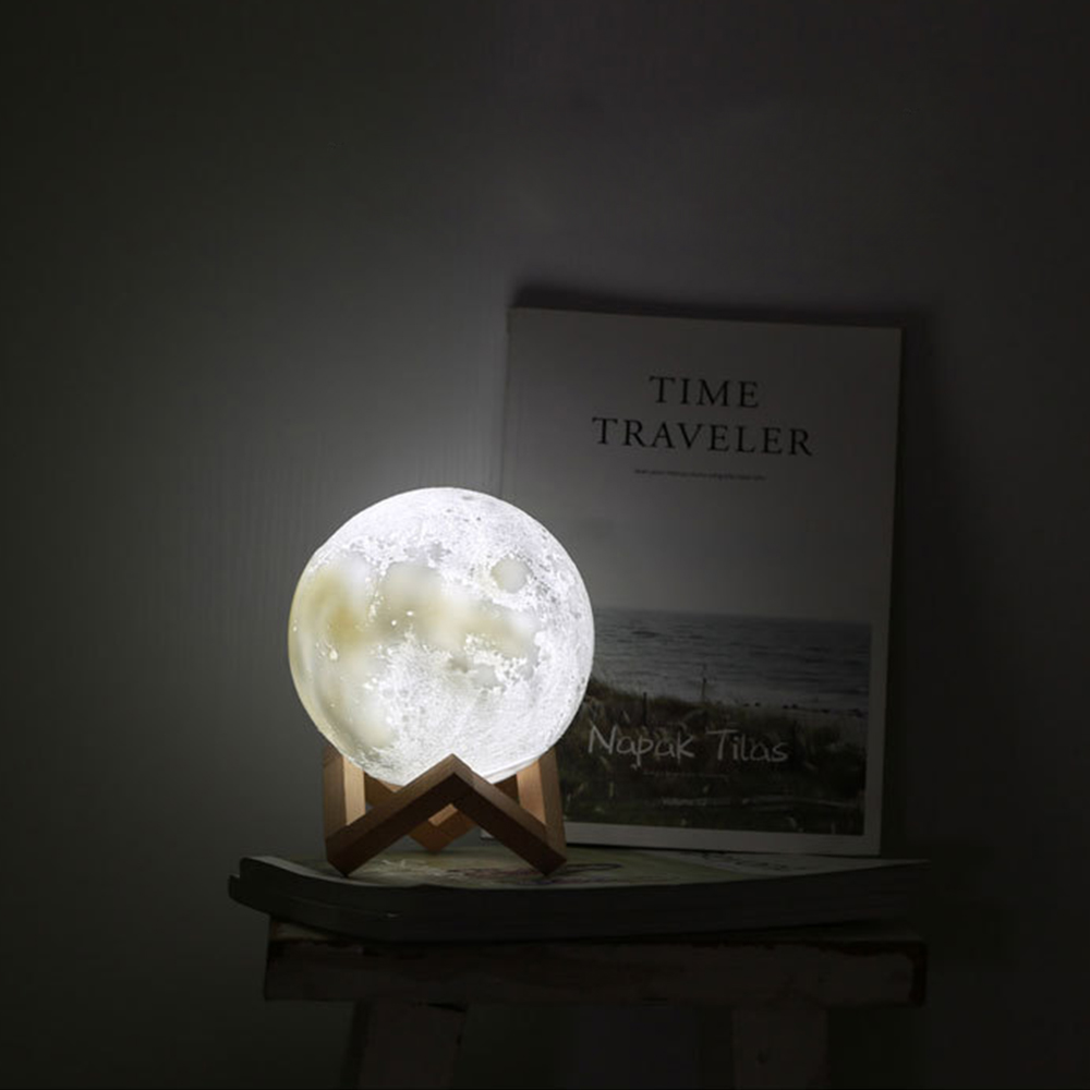 LED Moon night light ball shape Touch control 2 colors bedside light Table Light creative gift for birthday festival Diameter 18