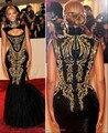 На заказ высокого декольте бейонсе черного с Goid шаблон русалка вечерние платья