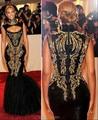 Por encargo de la alta escote Beyonce negro con Goid patrón noche de la sirena vestidos