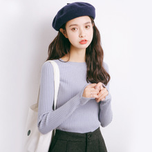2017 autumn new sweater Korean elasticity was thin round collar Slim shirt female M27