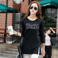 Free New Winter Dress Ting T Shirt In The Long Letter T Shirt Blouse Female Cotton