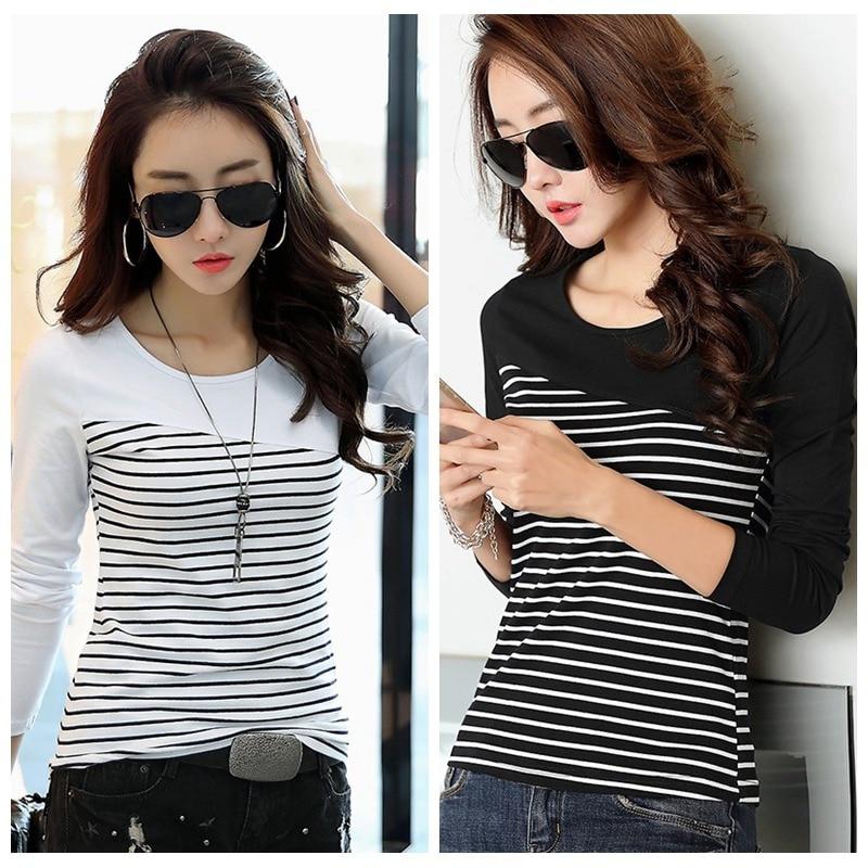 Women O-neck Casual Slim T Shirt Long Sleeved Striped Tops Female T Shirt Autumn Casual Tops Women Striped Fashion T-Shirt