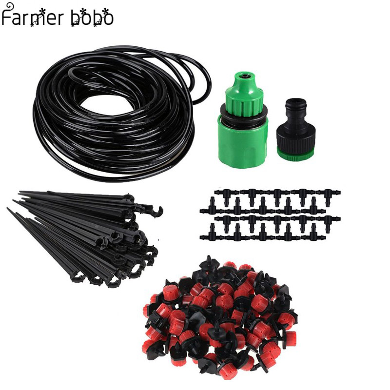 25M/5M/15M Micro Drip Irrigation Kit Plants Garden Watering System Automatic Garden Hose Kits Connector 30pcs Adjustable Drip 5m 15m 25m diy drip irrigation system automatic plant self watering garden hose micro drip garden watering system