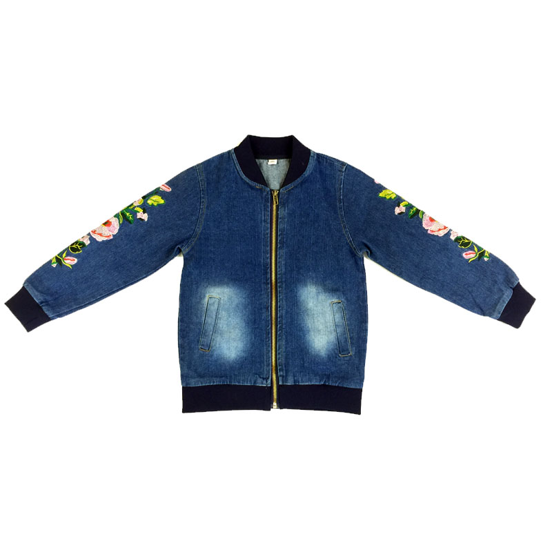 Kids Jeans Coats For Girls Teenagers 4 5 6 7 8 9 10 11 12 13 14 15 Year Autumn Denim Jacket Flowers Long Sleeve Children Outwear