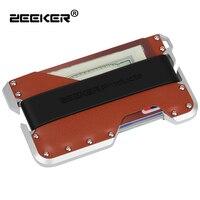 ZEEKER New Design Aluminum Metal RFID Blocking Credit Card Holder Genuine Leather Minimalist Card Wallet For Men