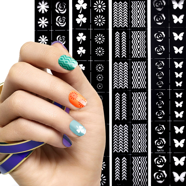 1 Sheet Nail Art Tips Guide Hollow Sticker Acrylic Crystal French ...