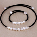 8-9mm natural freshwater pearl chocker pearl bangle necklace bracelet set for women gift