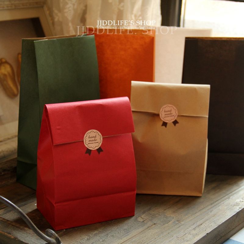 (4 Pieces/lot) Vintage Solid Handle Folding Pocket Gift Bag Snack Packaging Paper Bags Christmas Cookie Bags