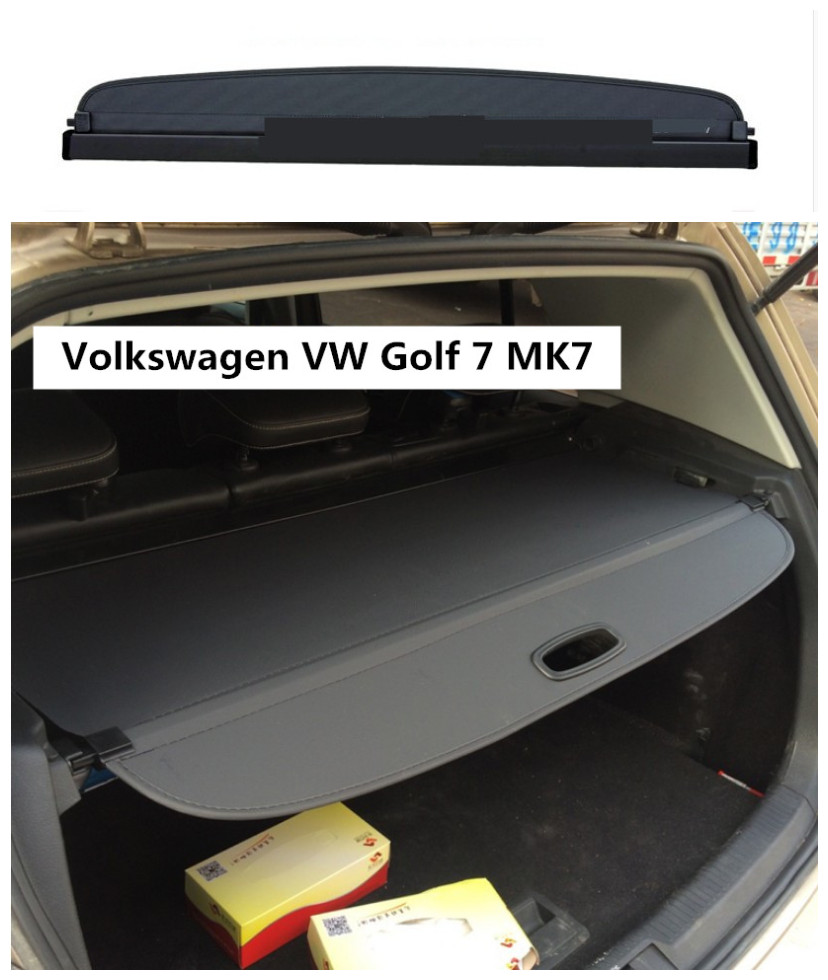 For Volkswagen VW Golf 7 MK7 2014 2015 2016 2017 2018 Rear Trunk Security Shield Cargo Cover High Qualit Auto Accessories for volkswagen vw golf 7 mk7 2013 2014 2015 stainless steel car speaker cover door bottom audio sound frame case accessories