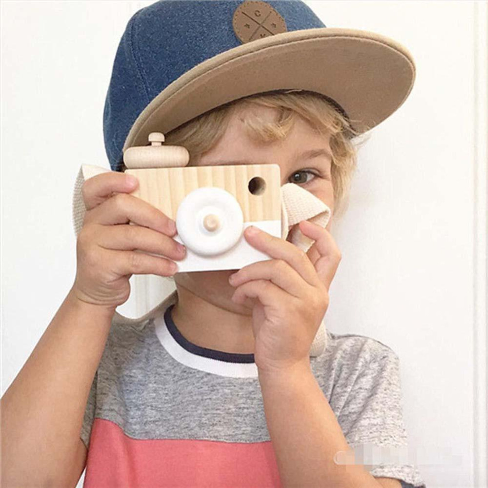 Mini Wooden Camera Cute Cartoon Baby Toy Kid  Neck Camera Photography Prop Decoration Educational Children Playing House