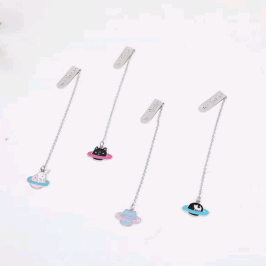 Cat Planet Metal Chain Pendant Bookmark Marker Of Page School Office Supply Student Stationery