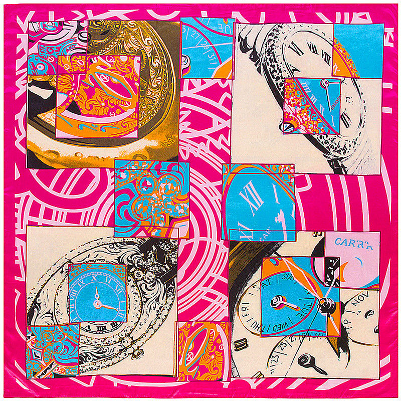 2017 New hot sale fashion pink patchwork clock print square twill silk scarf for women female scarves 90*90cm