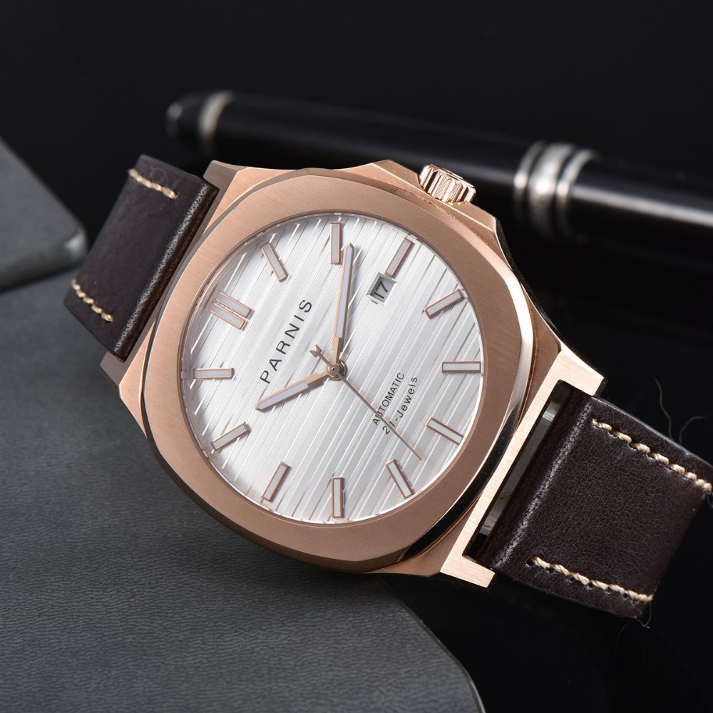 44MM parnis sapphire glass white dial date widnow luminous rose golden case miyota 821A automatic movement men watch