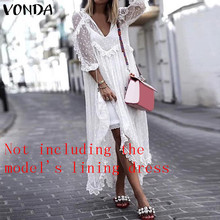 VONDA Lace Dress Summer 2019 Women Sexy V-Neck Dot Hollow Asymmetrical Hem White Dress  Holiday Cardigan Vestidos Plus Size