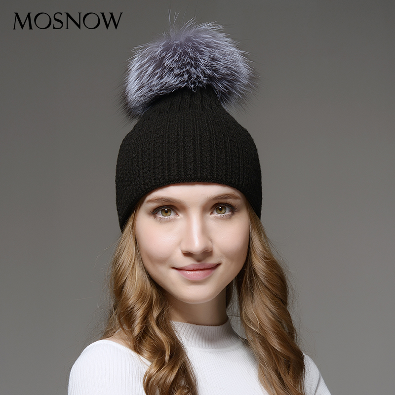 Mosnow Hat Winter Wool Silver Fox Fur Pom Poms  Warm Women High Quality Vogue Knitted Casual  Hats For Girls Skullies Beanies skullies beanies newborn cute winter kids baby hats knitted pom pom hat wool hemming hat drop shipping high quality s30
