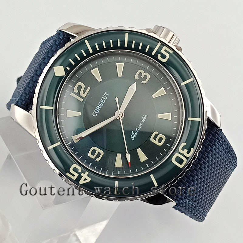 45mm Corgeut watch green dial green bezel super luminous Automatic mens watch