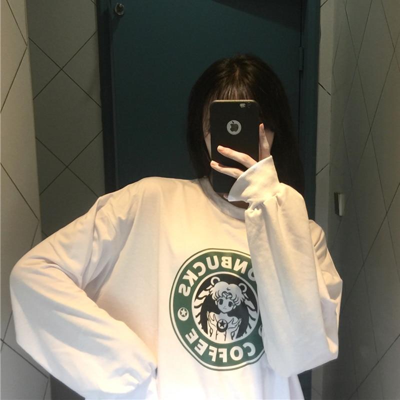YouGeMan 2019 Autumn Womens Clothing New Korean Ulzzang Harajuku Cartoon Sailor Moon Sweatshirts Hoodies Female Girls Hoodie Top