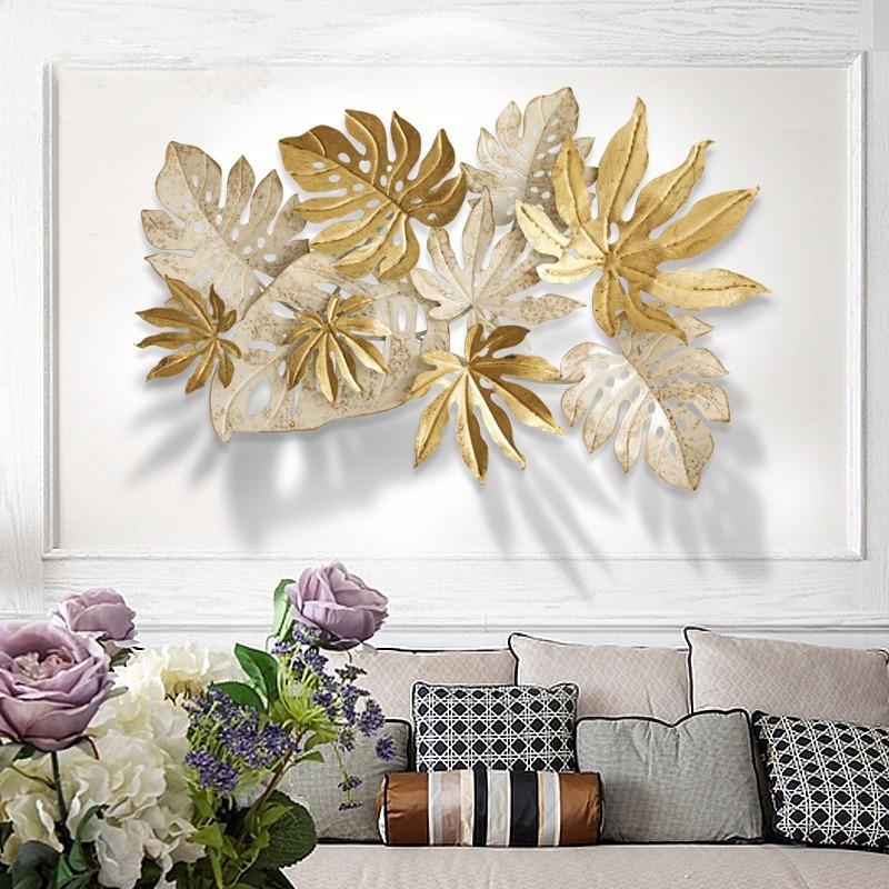 Ins скандинавские листья настенные украшения 3D стерео Кованые Настенные подвесные поделки домашний диван фон Настенная Наклейка Фреска R2054 - 2