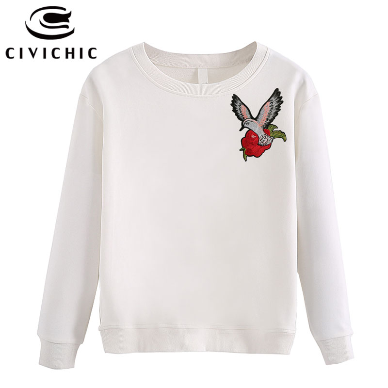 CIVICHIC Stylish Woman Embroidery Top Tees Harajuku Long Sleeve T shirt Retro Floral Pullover O Neck Oodji Bts Sweat Shirt WLT34