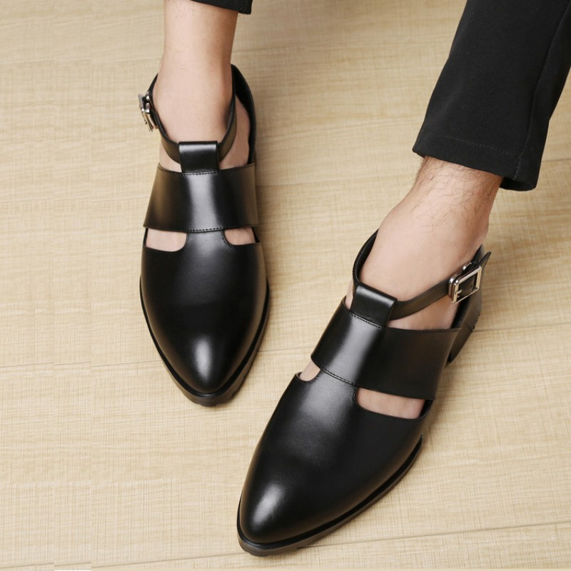 Fashion Mens Hollow Out Pointed Toe Sandals Buckle Genuine Leather Sandals Block Heels Shoes Men Rome Gladiator Leather Shoes