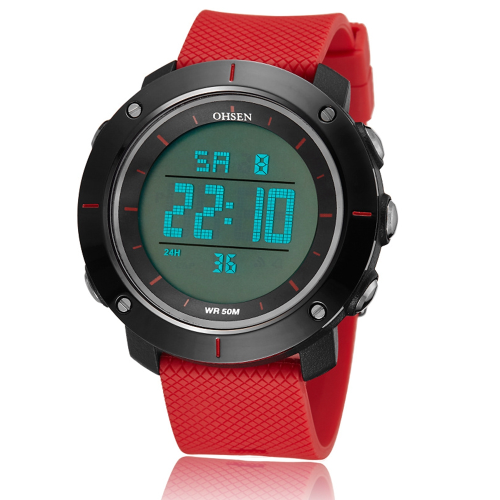 Famous brand OHSEN digital men red fashion wristwatch rubber strap 50M waterproof diver LED military sport watches clocks giftFamous brand OHSEN digital men red fashion wristwatch rubber strap 50M waterproof diver LED military sport watches clocks gift