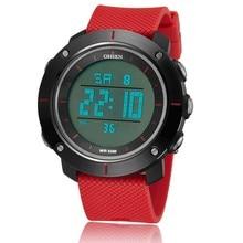 8dec25ac97df Famosa marca ohsen digital hombres rojo moda reloj correa de caucho 50 m  impermeable Diver militar LED relojes deportivos reloje.