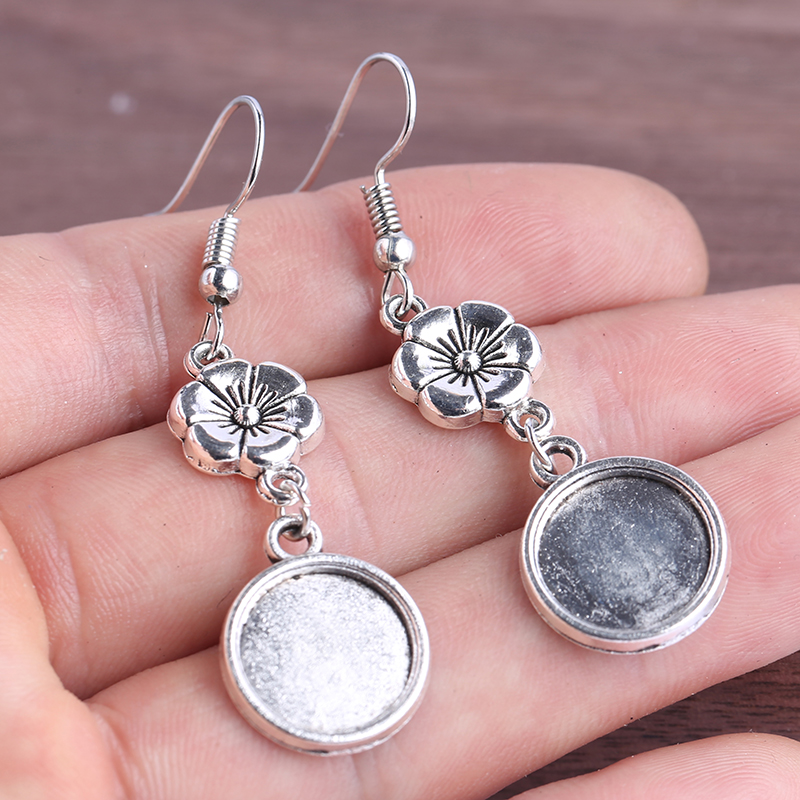 Onwear 5pairs Antique Silver Dangle Charm Earring Base 12mm Dia Blank Cabochon Settings Diy Accessories For Earrings Making