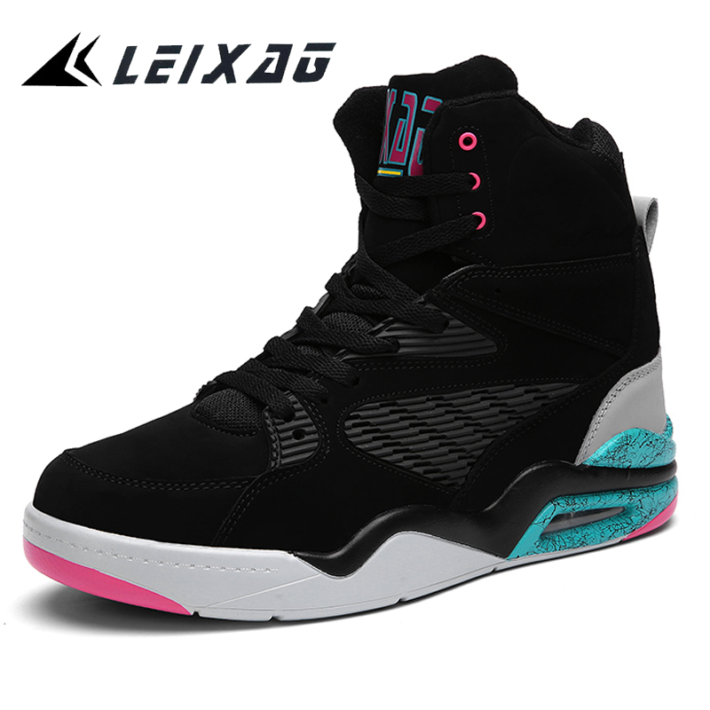 LEIXAG Outdoor Men Basketball Shoes Air Cushion Men Basketball Sports Shoes High Top War ...