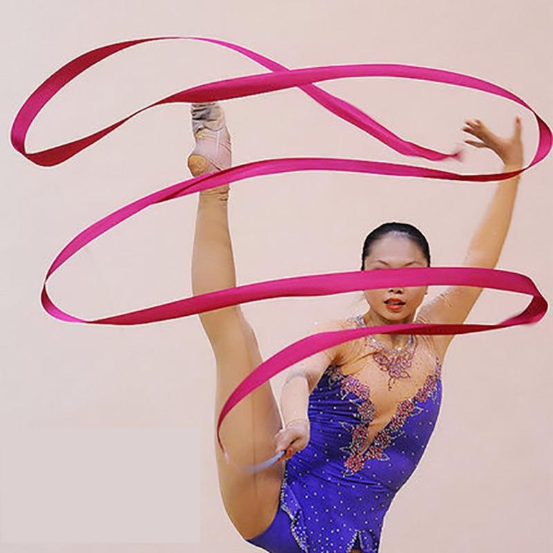 4M Colorful Gym Training Professional Gym Ribbons Dance Ribbon Rhythmic Art Gymnastic Ballet Streamer Twirling Rod Stick T