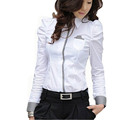 Career Lady Cotton White Shirts Size S-2XL Plaid Patchwork Korean Style Girls Fashion Blouses Long Sleeve Clothing