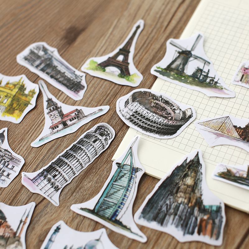 (44pcs/Pack) Cities Tower Cute Decoration Label Stickers DIY Scrapbooking Stickers Travel The World Sticker For School Diary