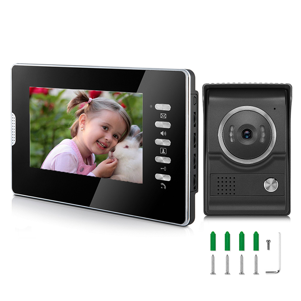 Wired 7 Inch Color Screen Intercom System With Doorbell Kits And Waterproof Camera For Home Security
